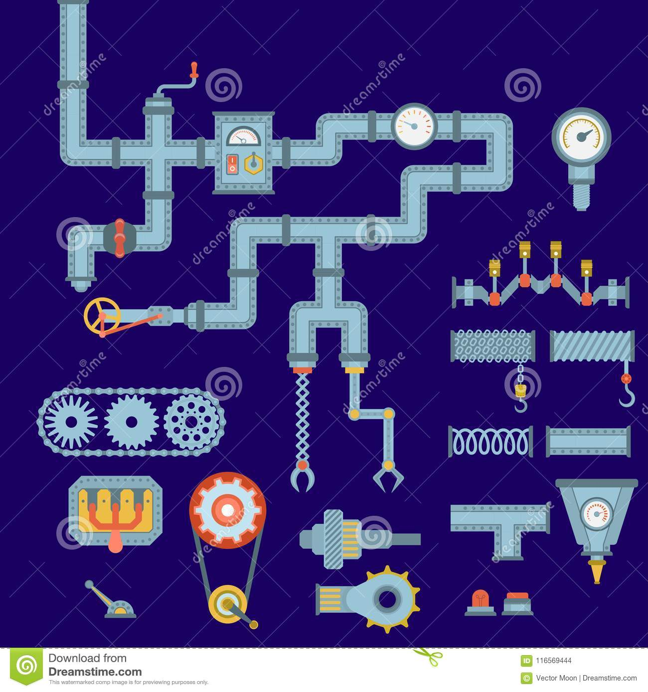 Machine Parts Different Mechanism Vector Mechanical Manufacturing Work Detail Design Gear Equipment Industry Technical Stock Vector Illustration Of Circle Different 116569444