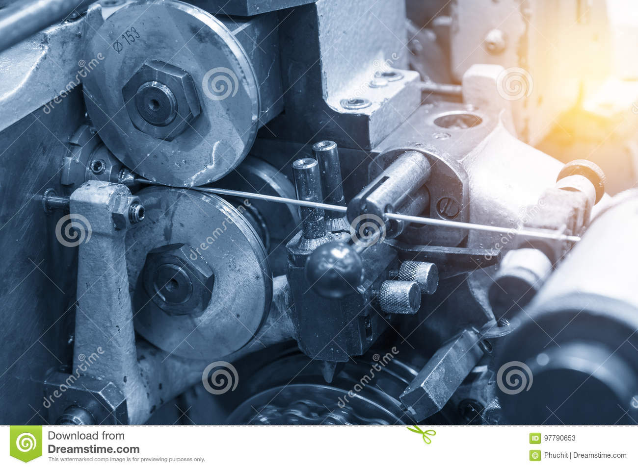 The Machine For Pin Manufacturing. Stock Image - Image of mechanical ...