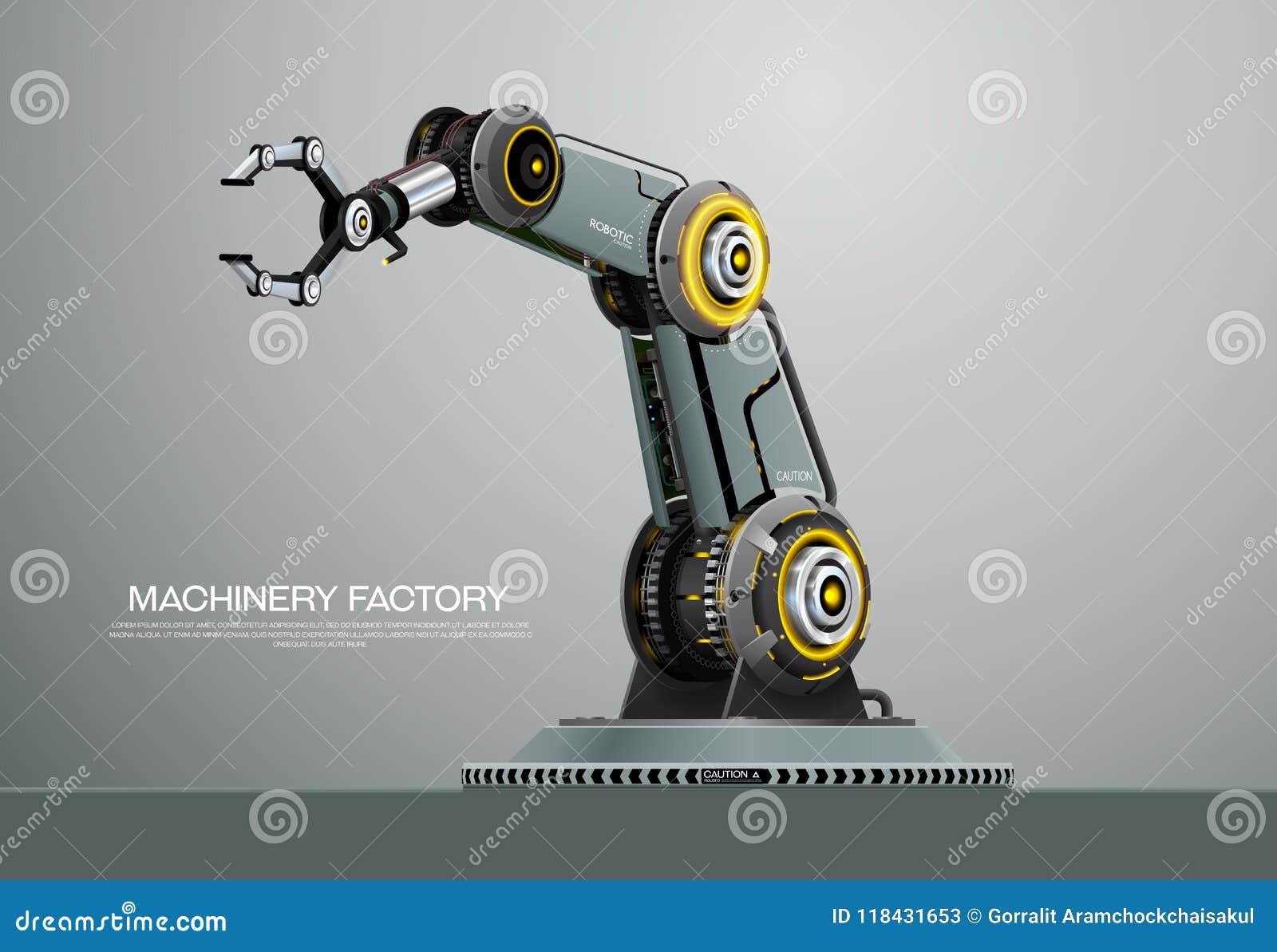 Machine Robotic Robot Arm Hand Factory Stock Vector - Illustration