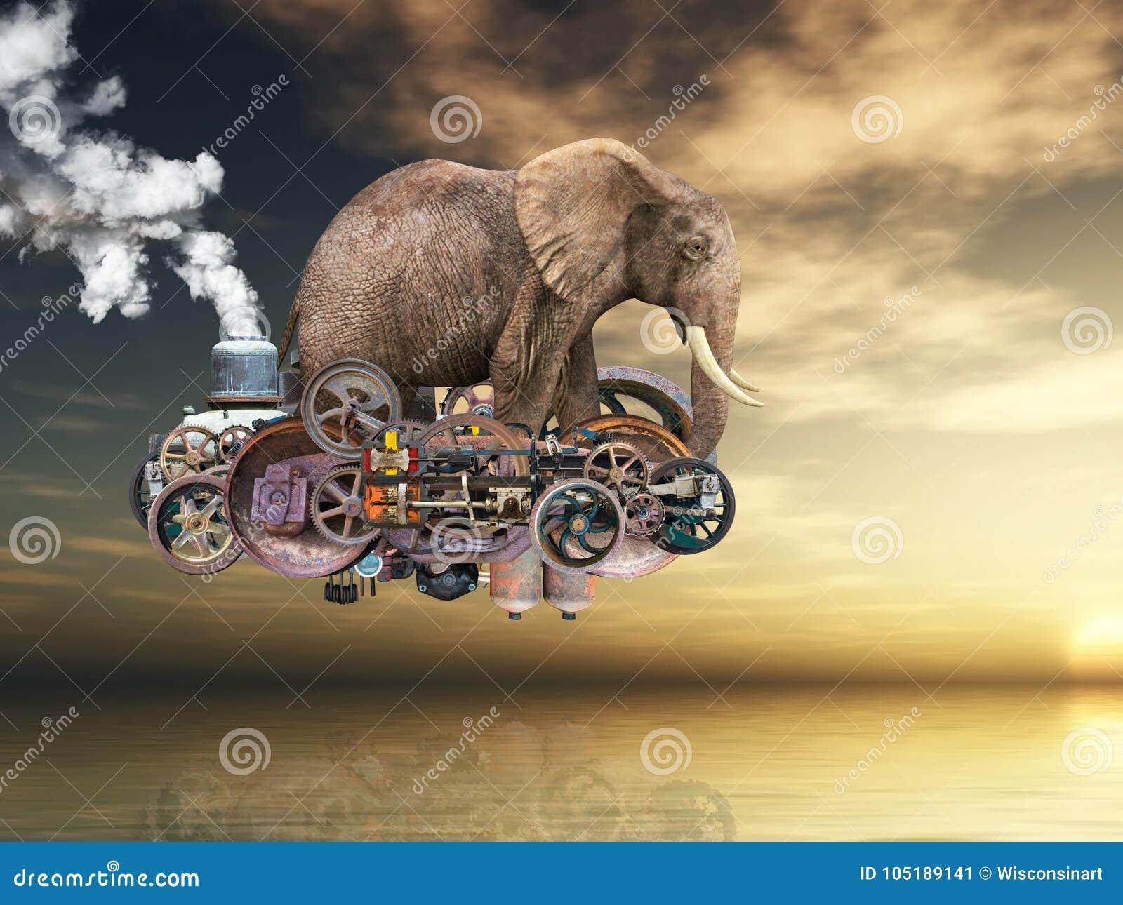 Machine volante surréaliste de Steampunk, éléphant