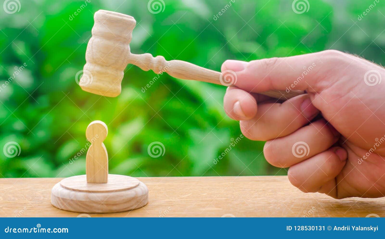 Machineonderdrukking en afschaffing van protesten De rechters` s hamer hing over het menselijke cijfer Concept rechtvaardigheid e