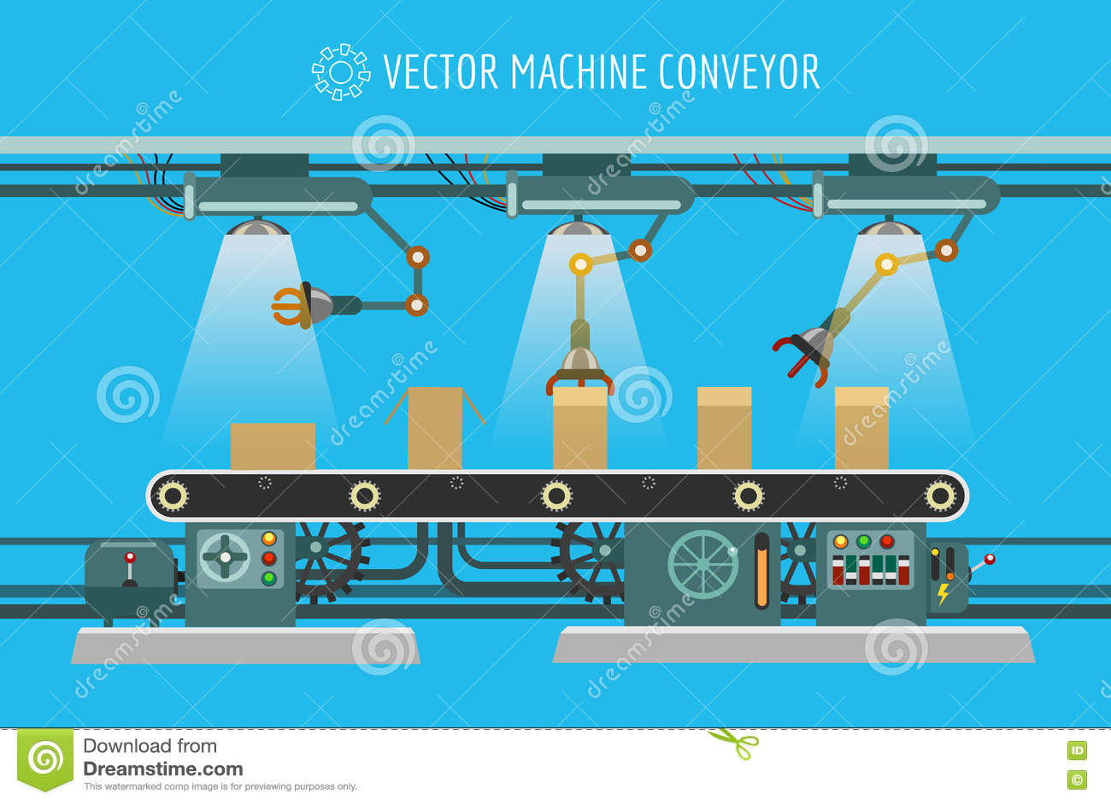 Machinery Industrial Factory Conveyor Belt Stock Vector Wiring Diagram