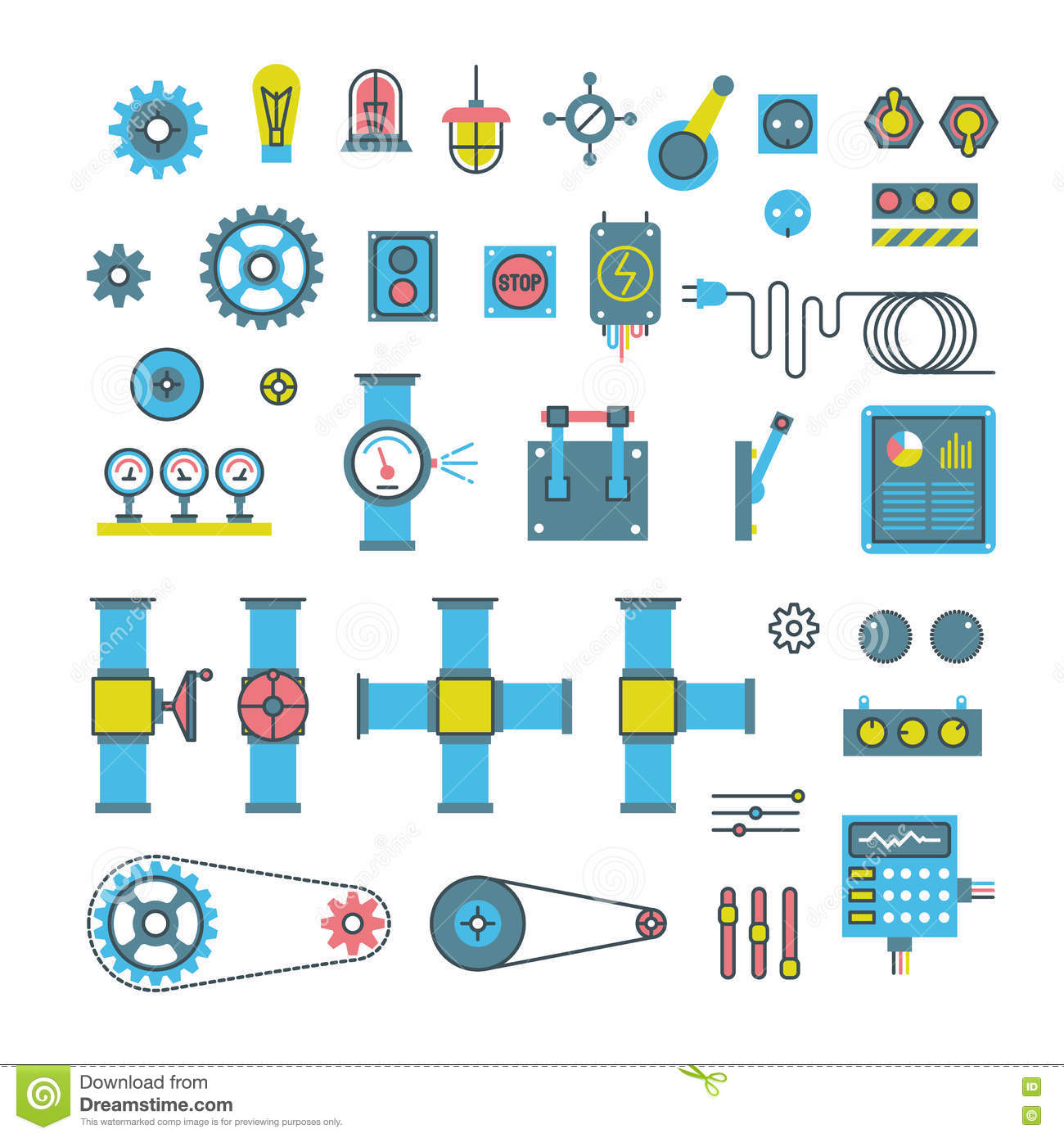 Tractor Parts Icon : Machinery parts flat vector icons stock