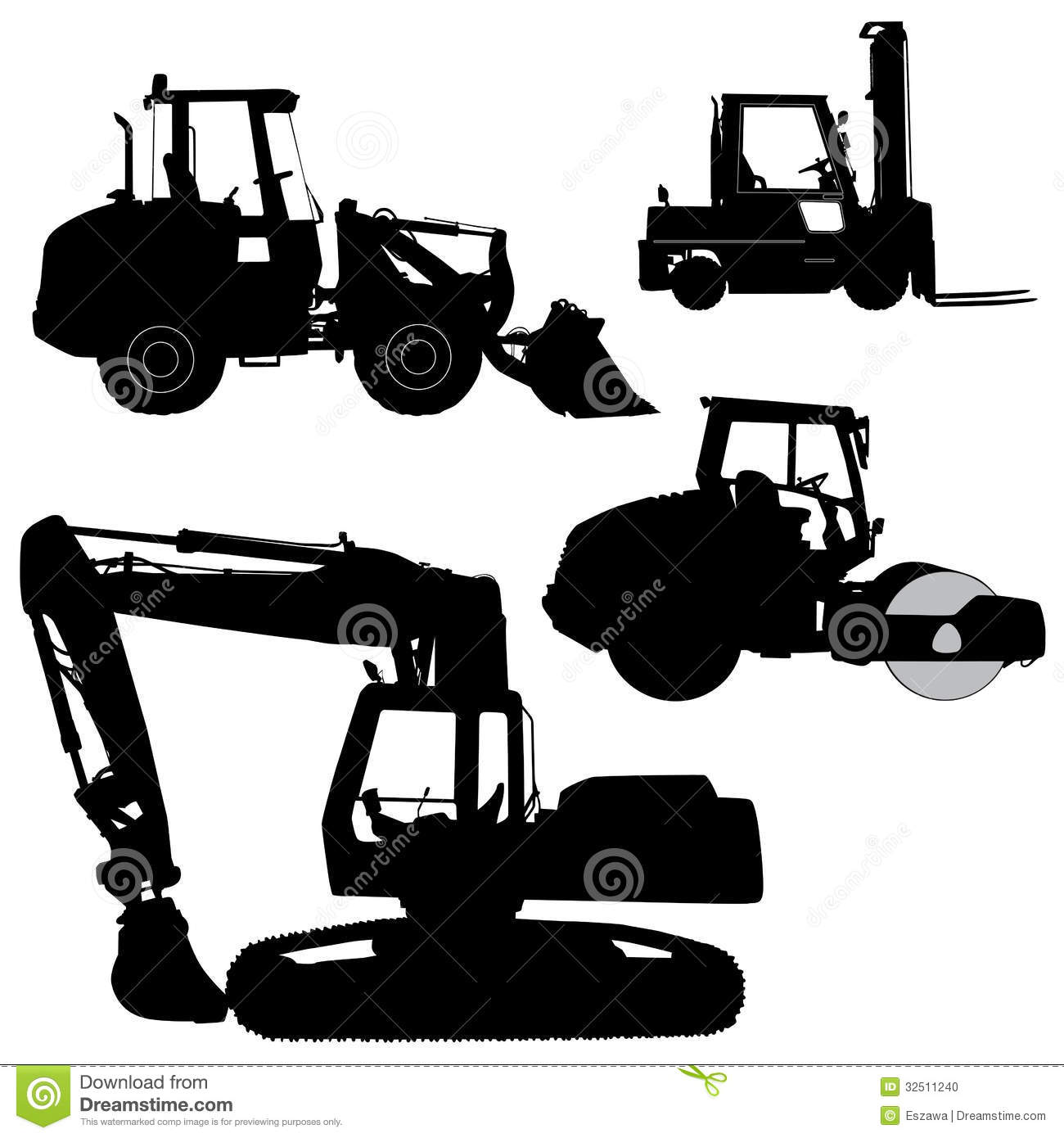 Machinery Set Of Silhouettes Of A Tractors Of Roa Stock