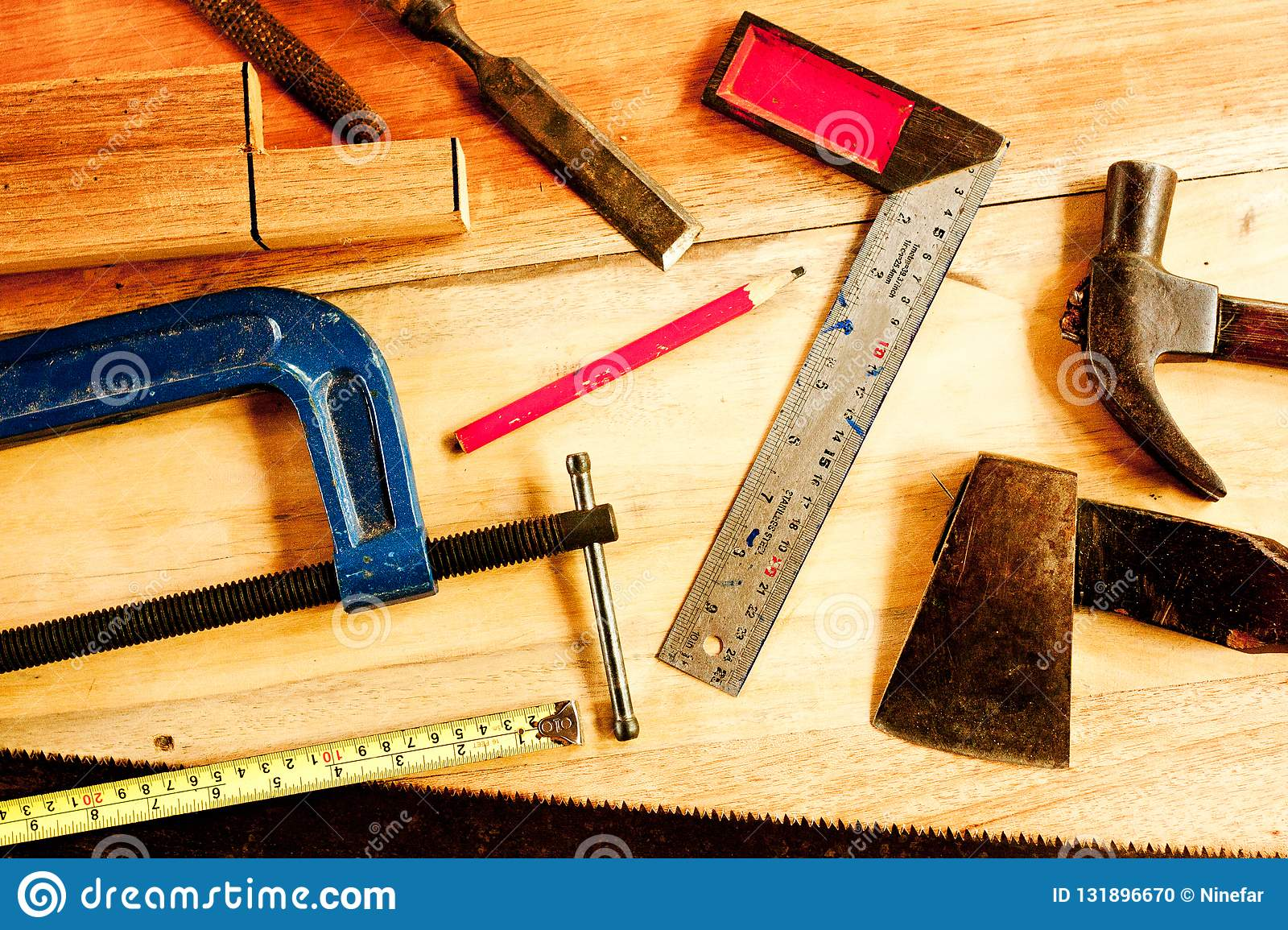 Machinist Square , Wood Pencil, Hammer, Saw, Clamp, Chisel