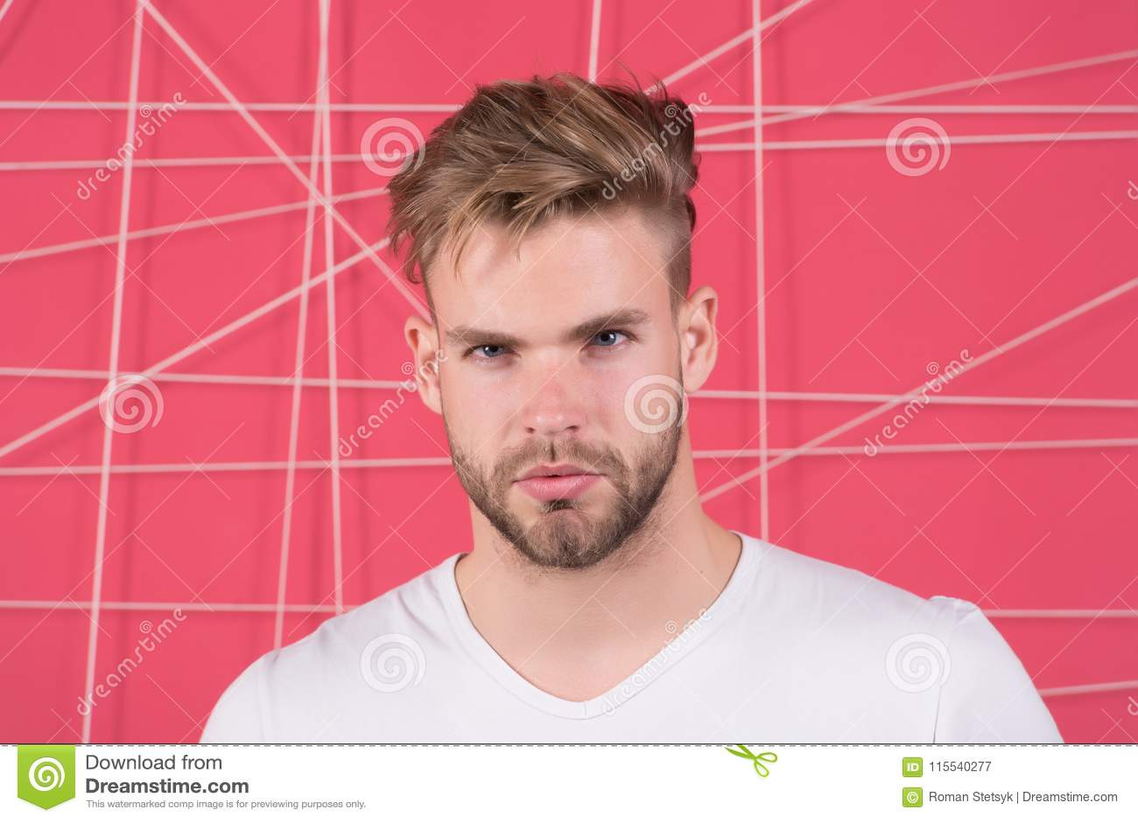 Macho Mit Bart Auf Unrasiertem Gesicht Bärtiger Mann Mit Dem Blonden