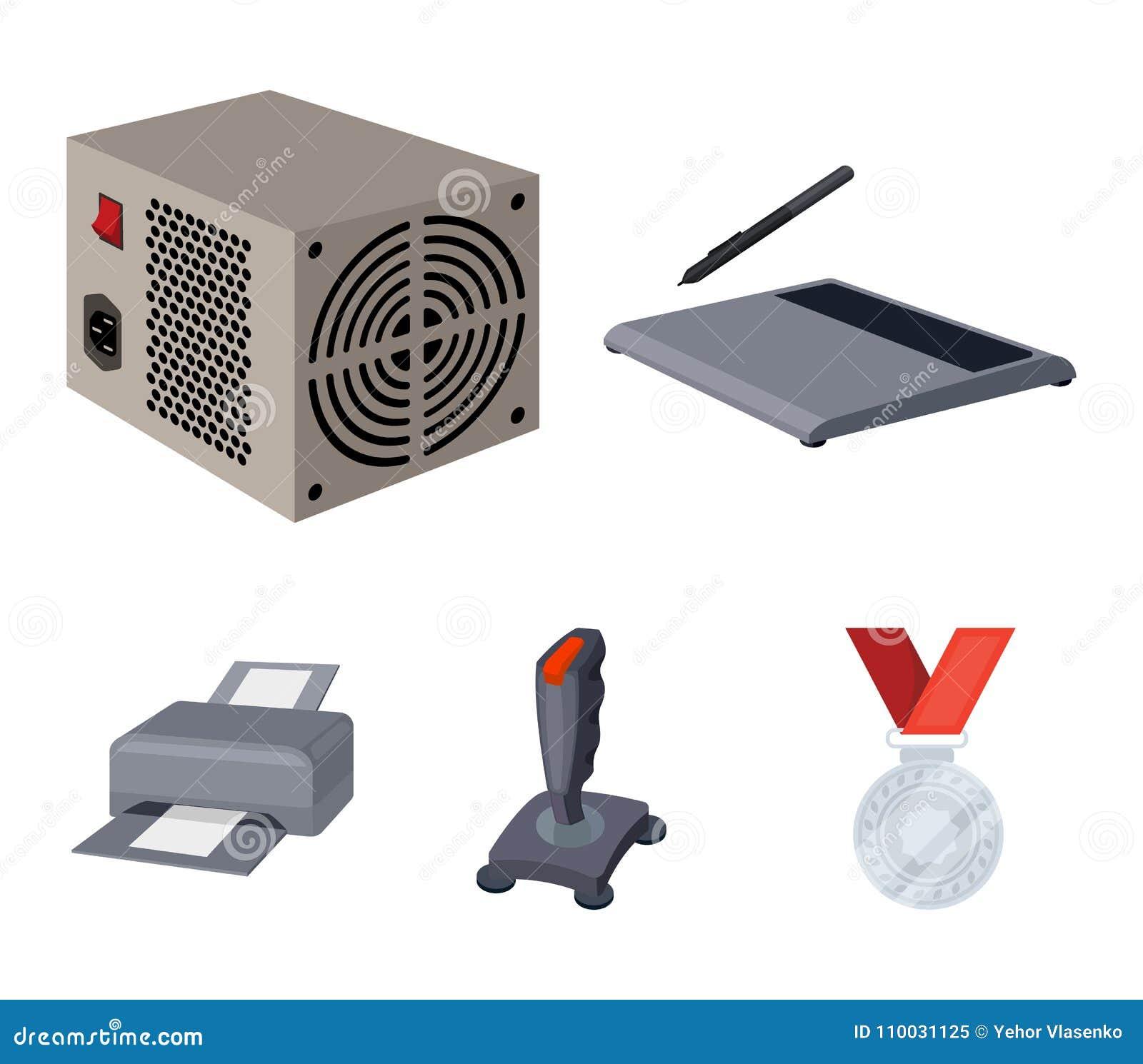 Machtseenheid, dzhostik en ander materiaal Pictogrammen van de personal computer de vastgestelde inzameling in vector het symbool