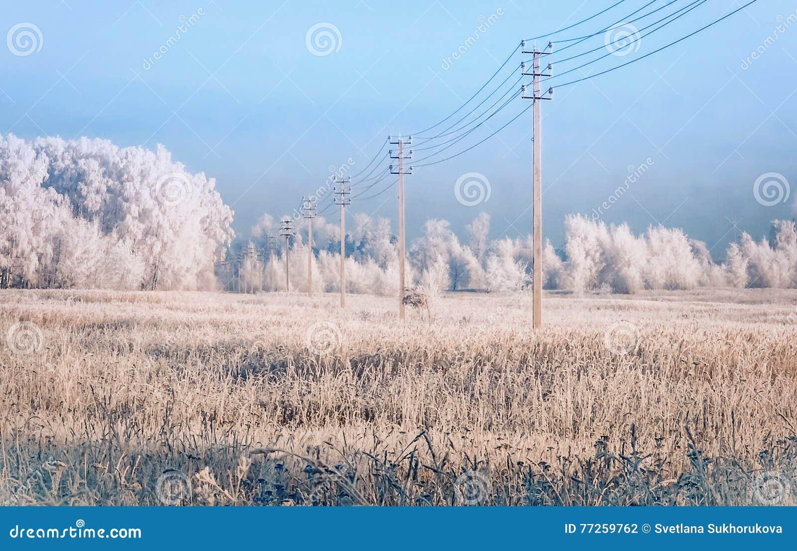 Machtslijn op het sneeuw behandelde gebied