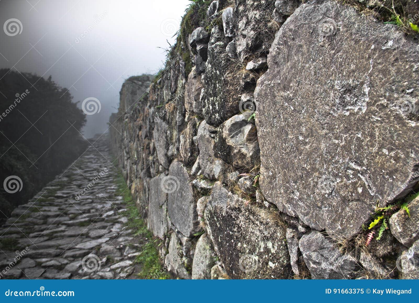 Machu Picchu пусто пасмурно туманнейше После пешего туризма на внушительном