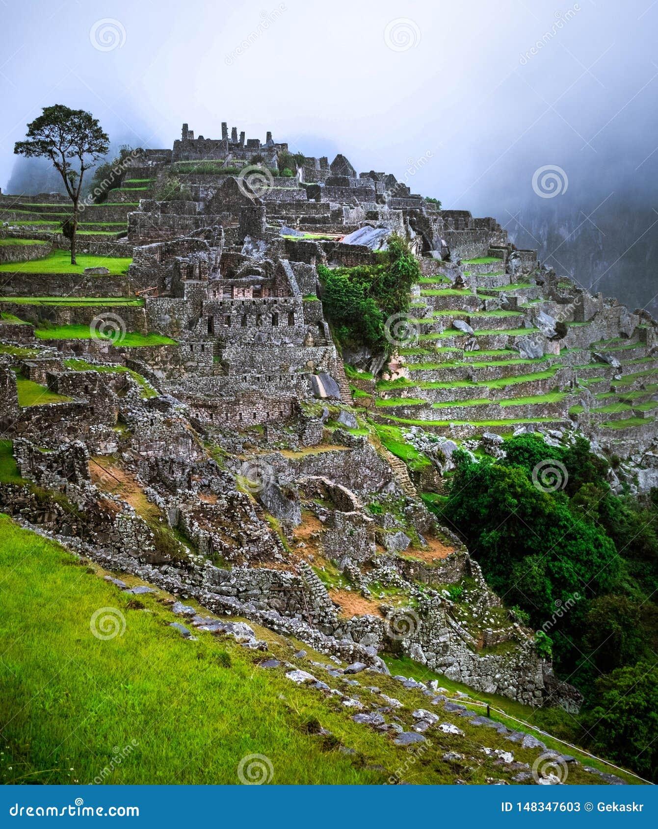 Machupicchu Temple Landscape Stock Image - Image of ...