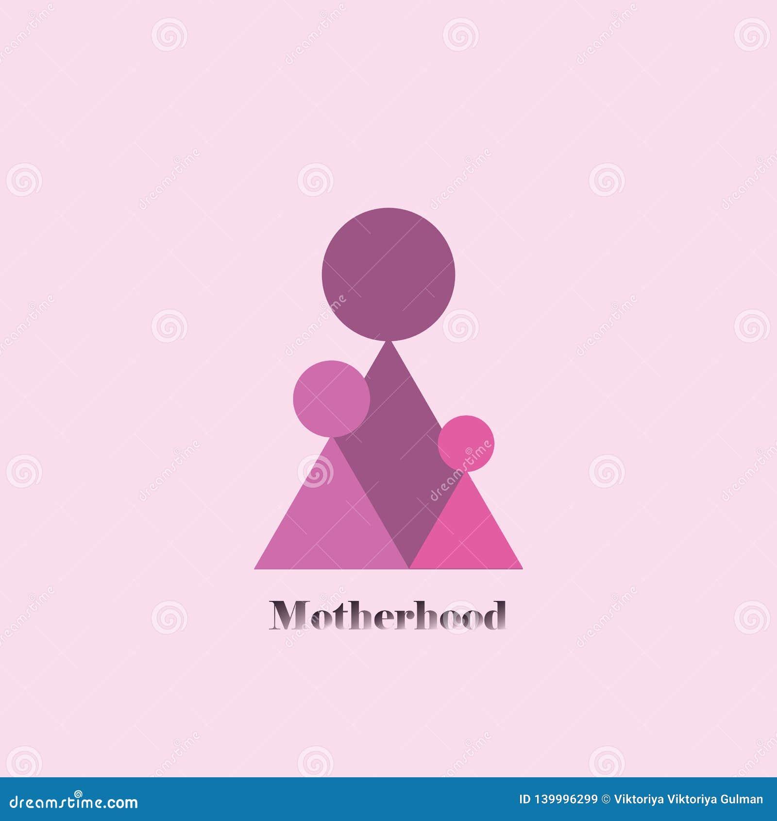 Macierzyństwo trzy geometrycznej kobiety postaci stoją wpólnie na różowym tle