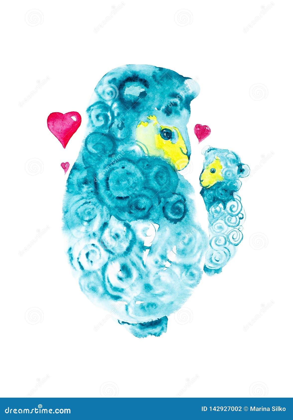 Macierzysty cakiel otaczający czerwonymi sercami czule trzyma dalej jego wręcza troszkę baranka Komiczna akwareli ilustracja odiz