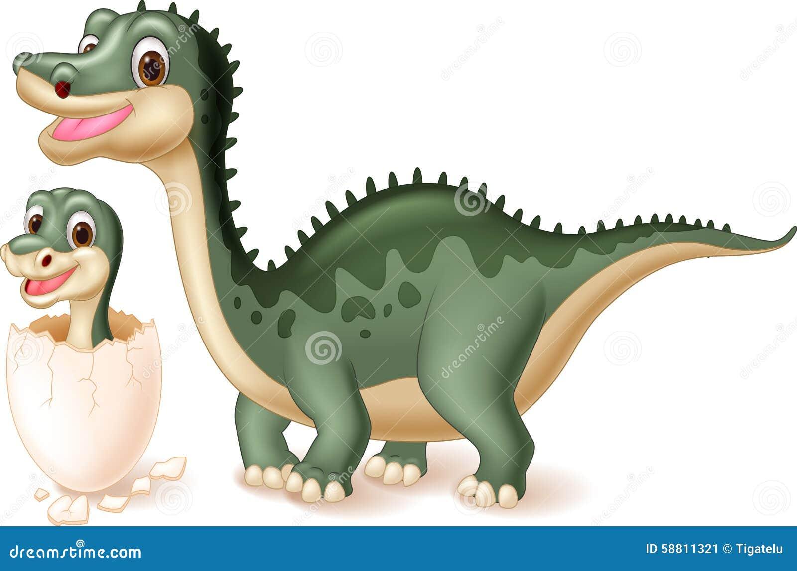 Macierzysty dinosaur z dziecka kluć się