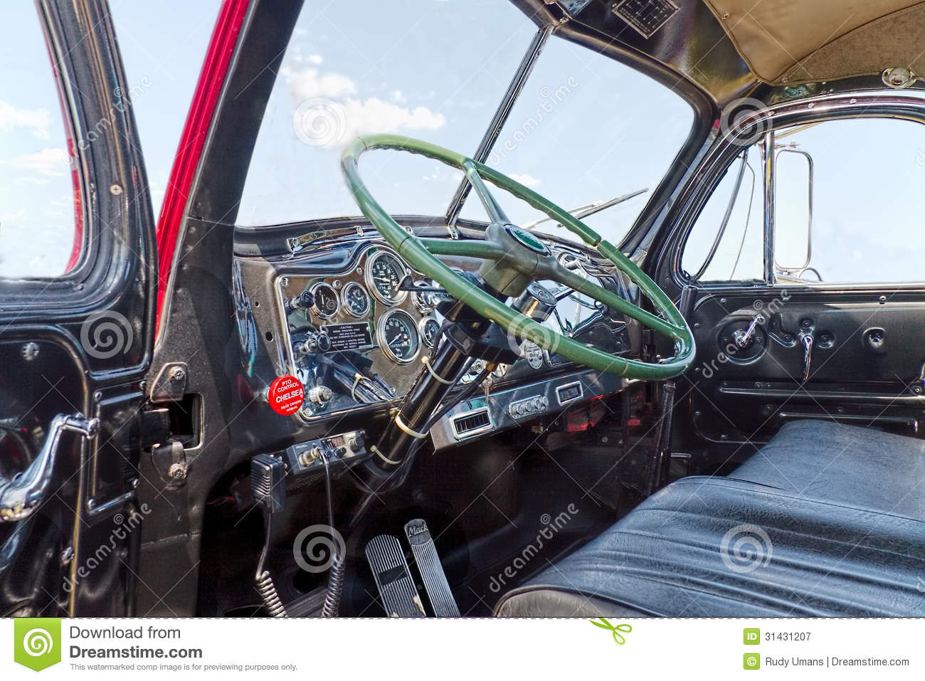 Royalty Free Stock Photography Mack B Interior Close Up Antique Truck Thermodyne Image31431207