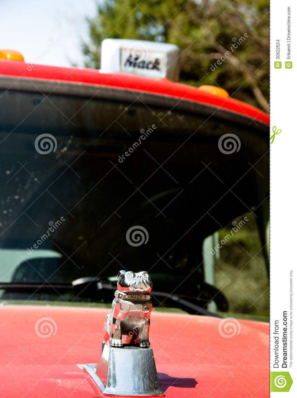 Mack Bulldog On An Old Red Truck Editorial Stock Image Image Of