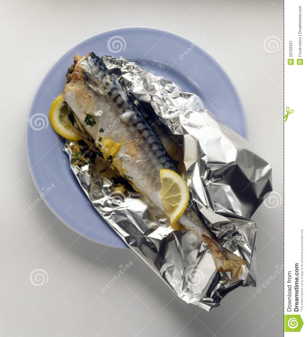Mackerel cooked in aluminium foil stock image image for Cuisine aluminium