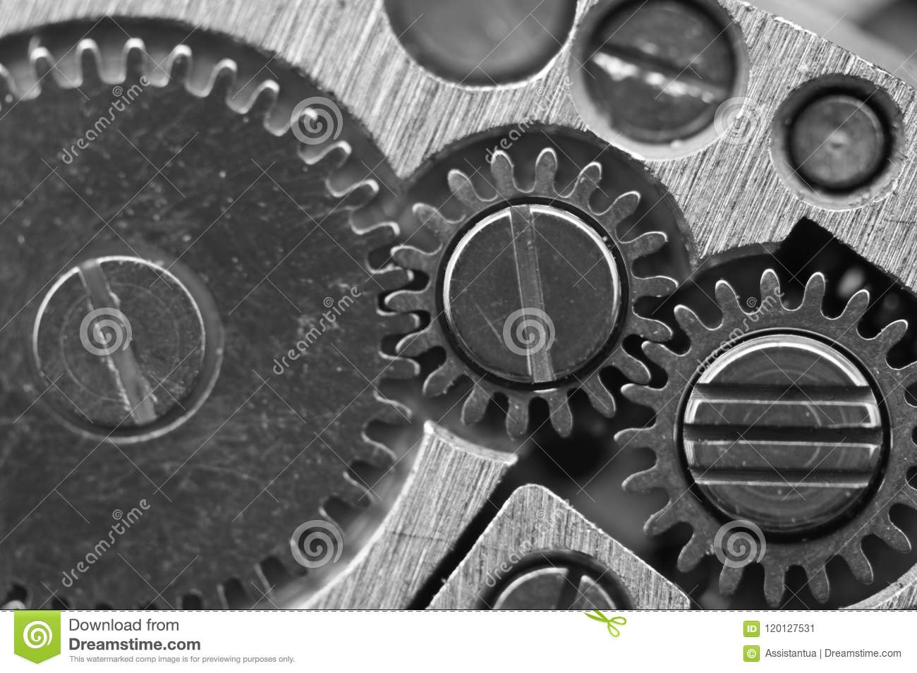 Macro. Black and white background. Metal close-up background of