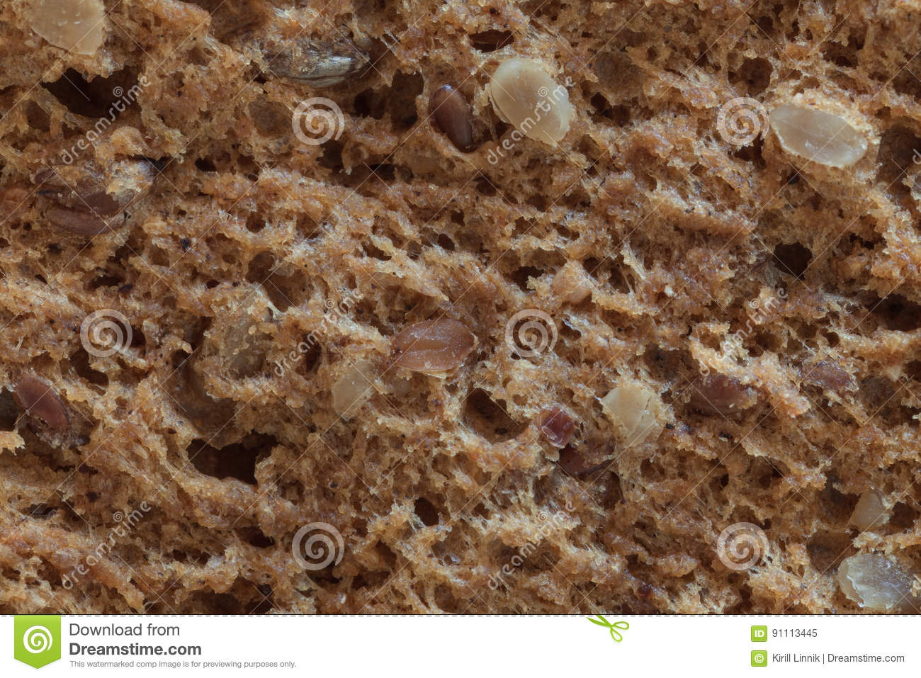 Download Macro Of A Bread With Seeds, Slice Stock Image - Image of flour, lunch: 91113445