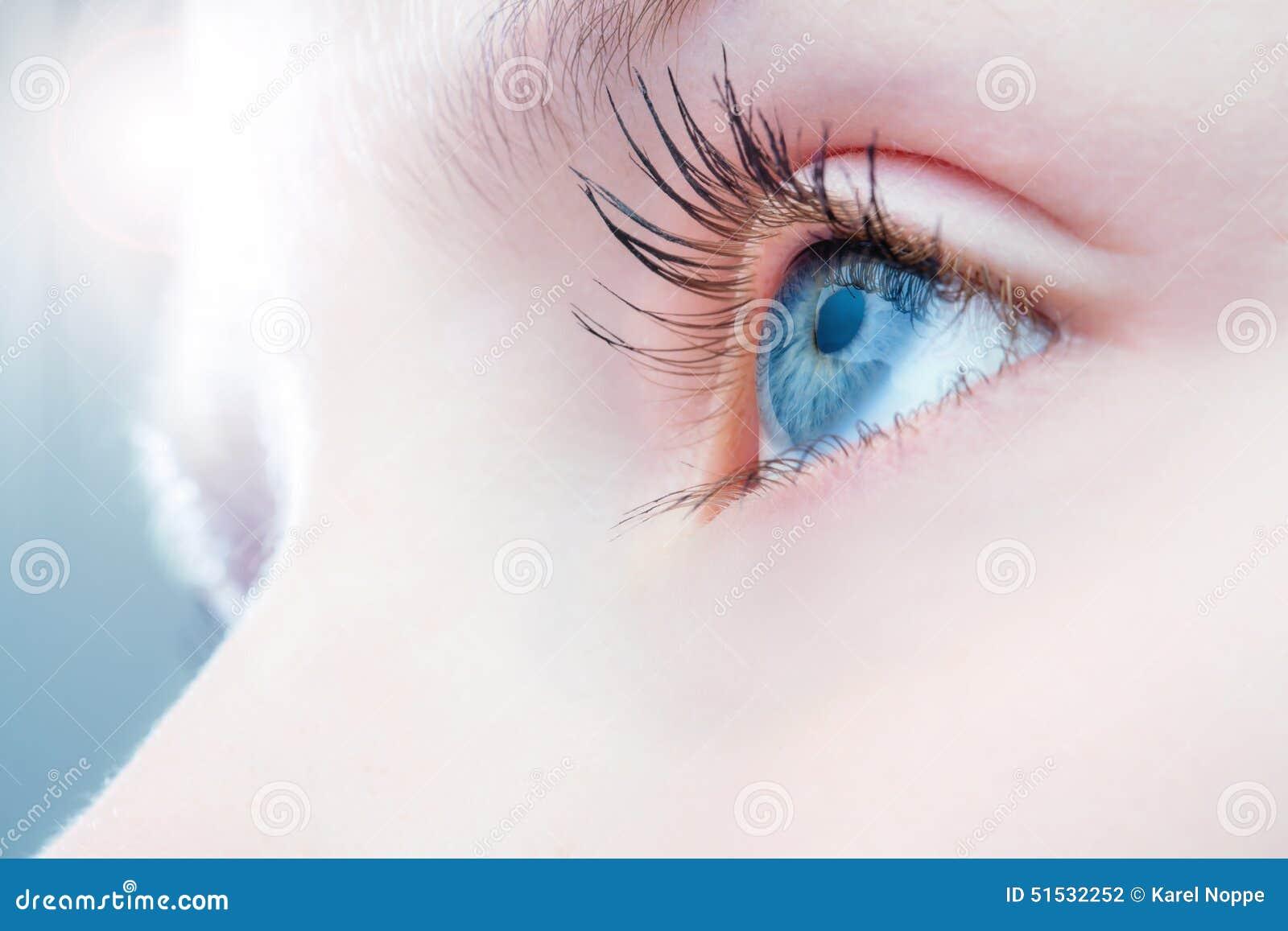 Macro cercana para arriba de ojo humano