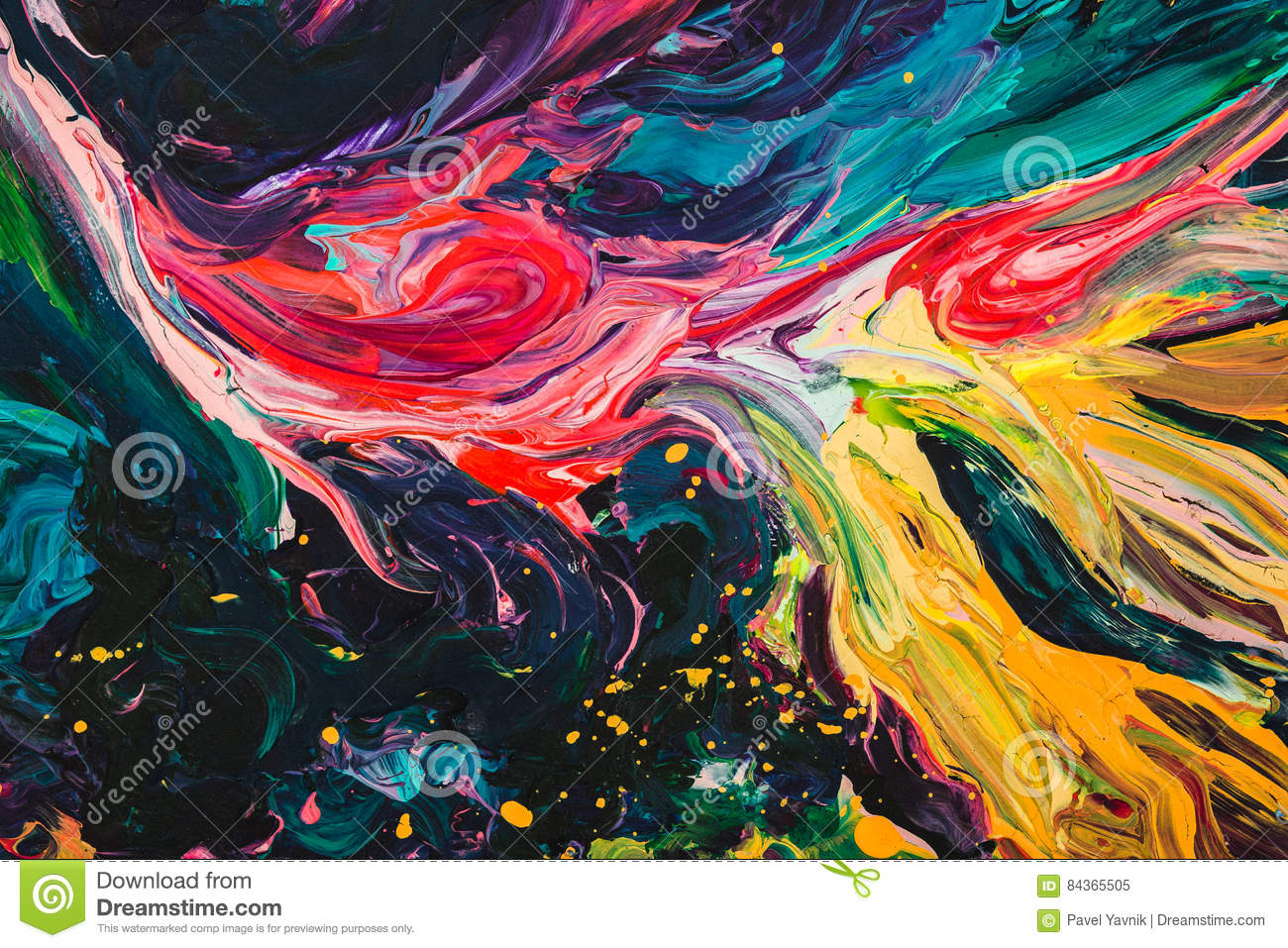 Macro close up of different color oil paint. colorful acrylic. modern art concept.