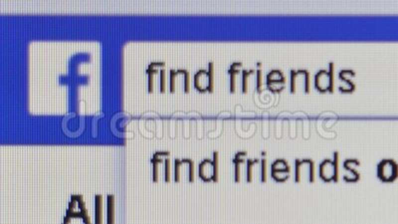 Macro close up pixel level view of a Facebook user typing in the words  `find friends` in the Facebook search bar