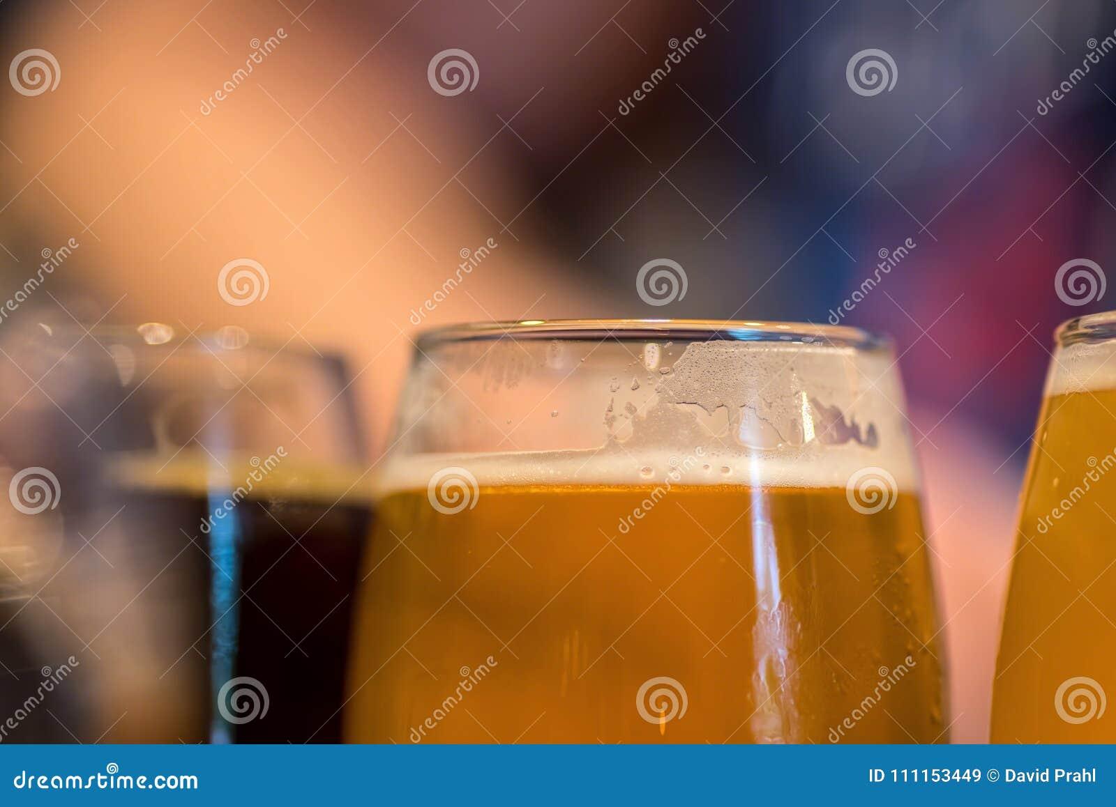 Macro closeup of beer flight