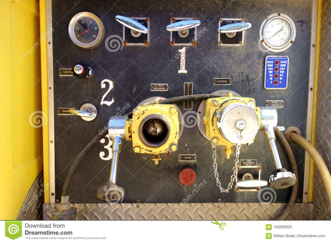 Retro Firetruck Valve And Control Station Stock Photo - Image of ...
