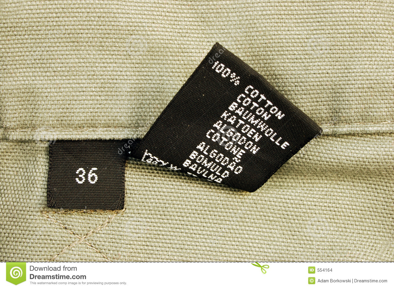 macro of clothing - size 36