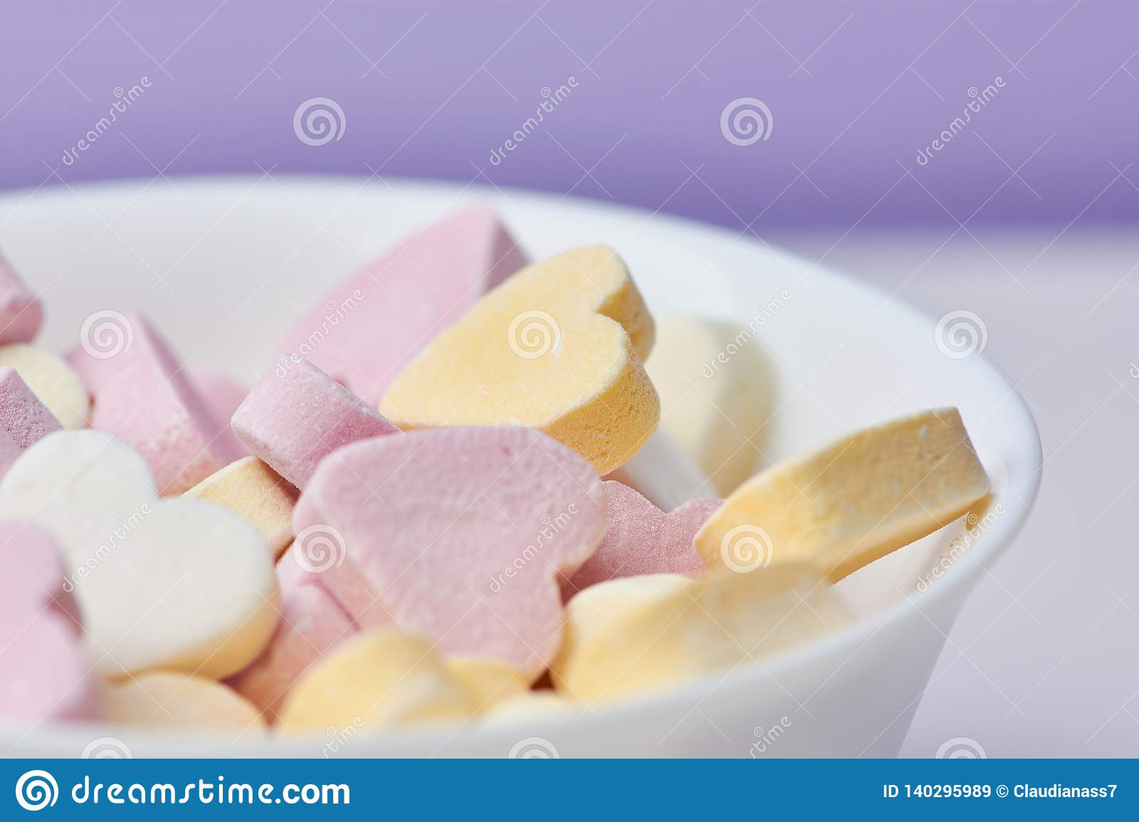 Colored candy hearts, close up
