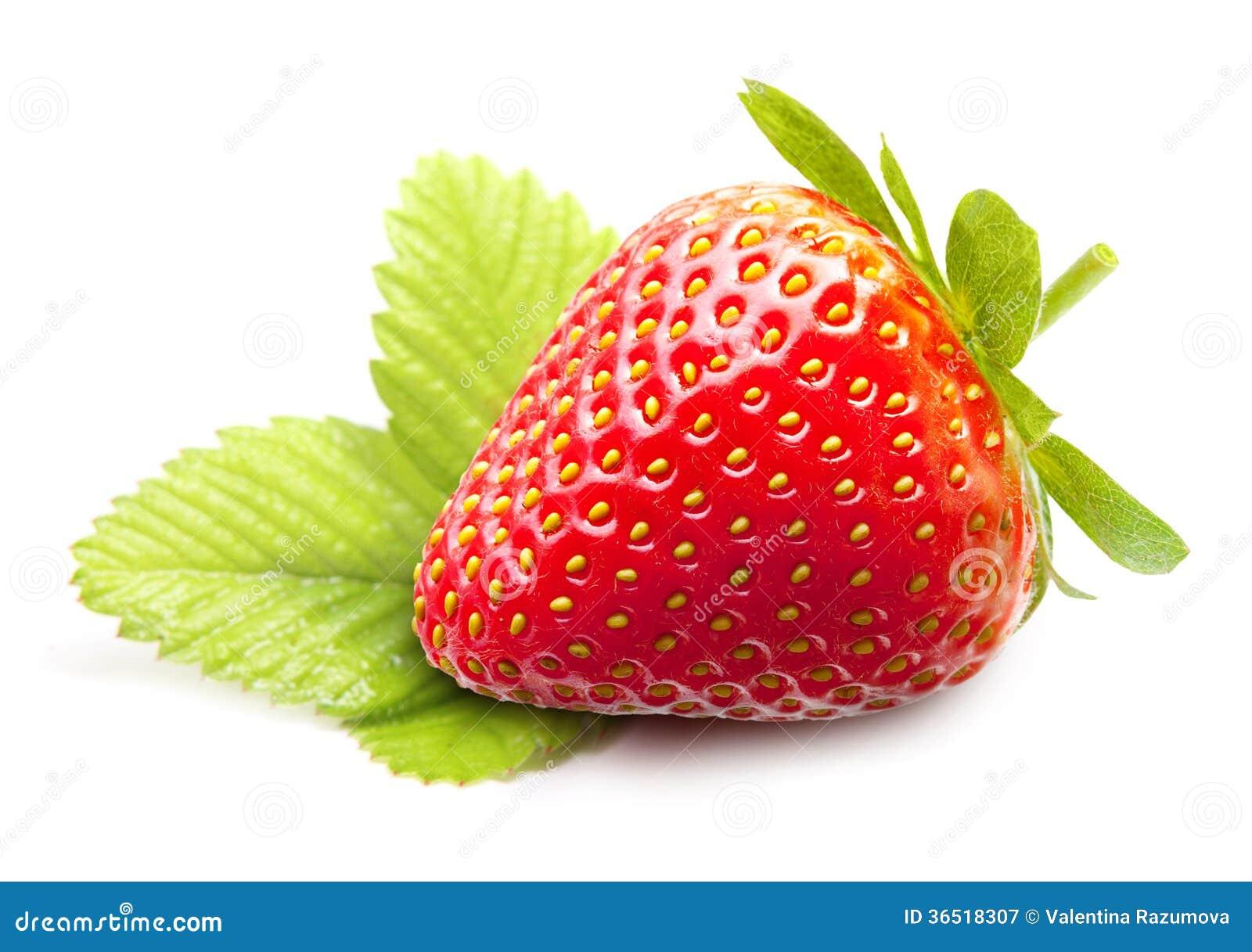 Macro de fraise avec des feuilles