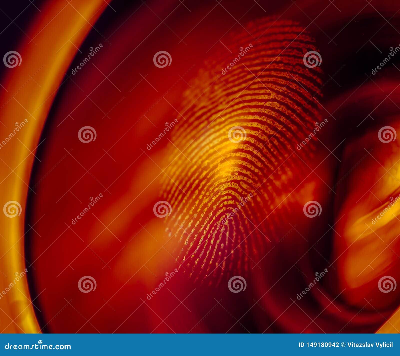 Macro de la huella dactilar en una lente en luz roja