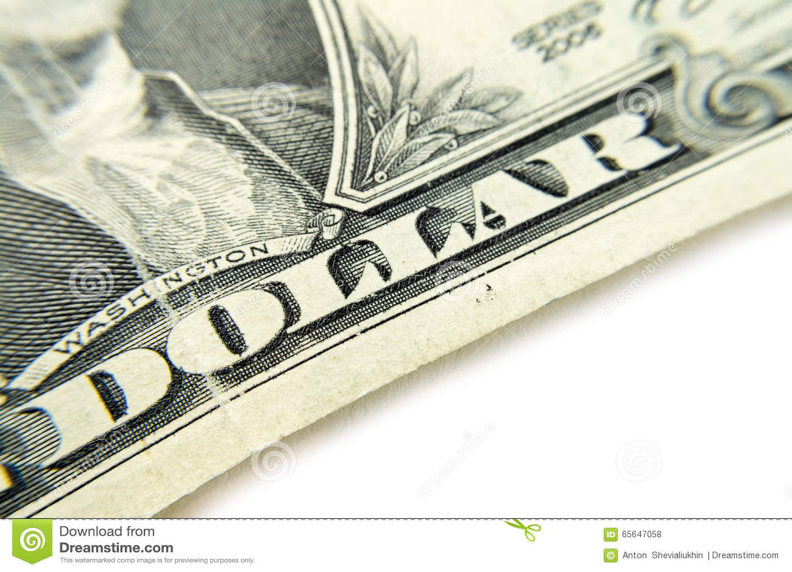 Macro de plan rapproché de billet de banque du dollar