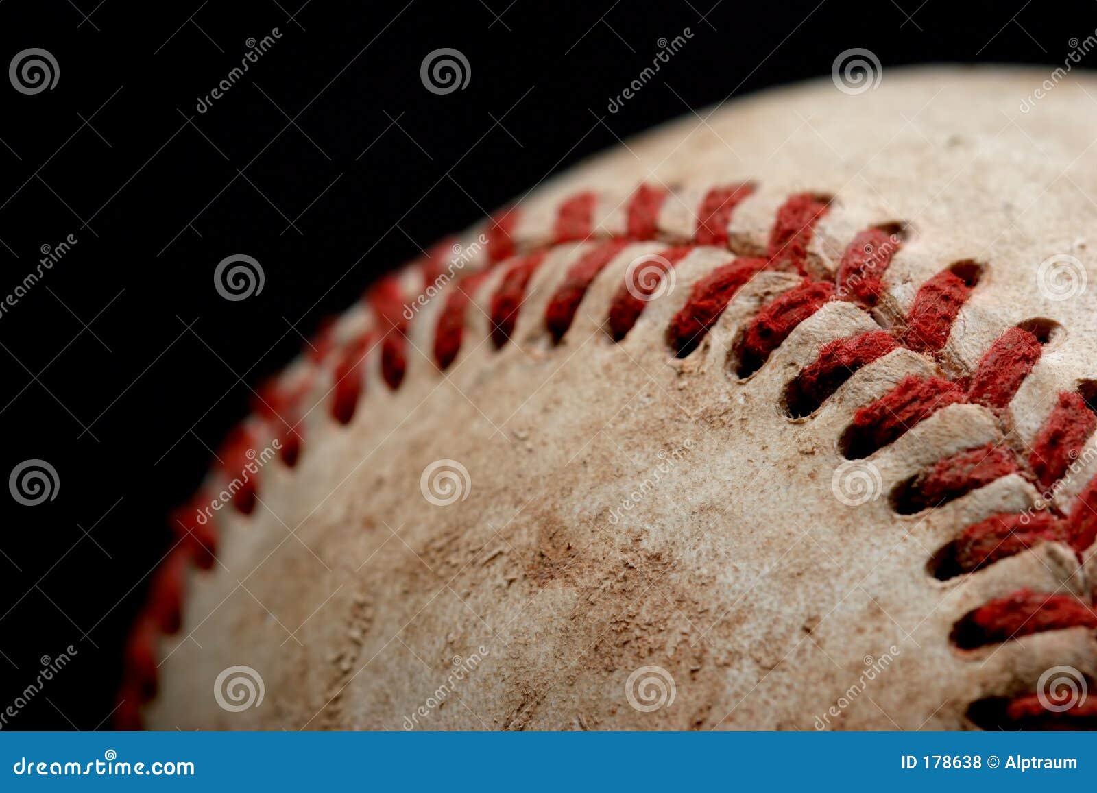 Macro del béisbol sobre negro