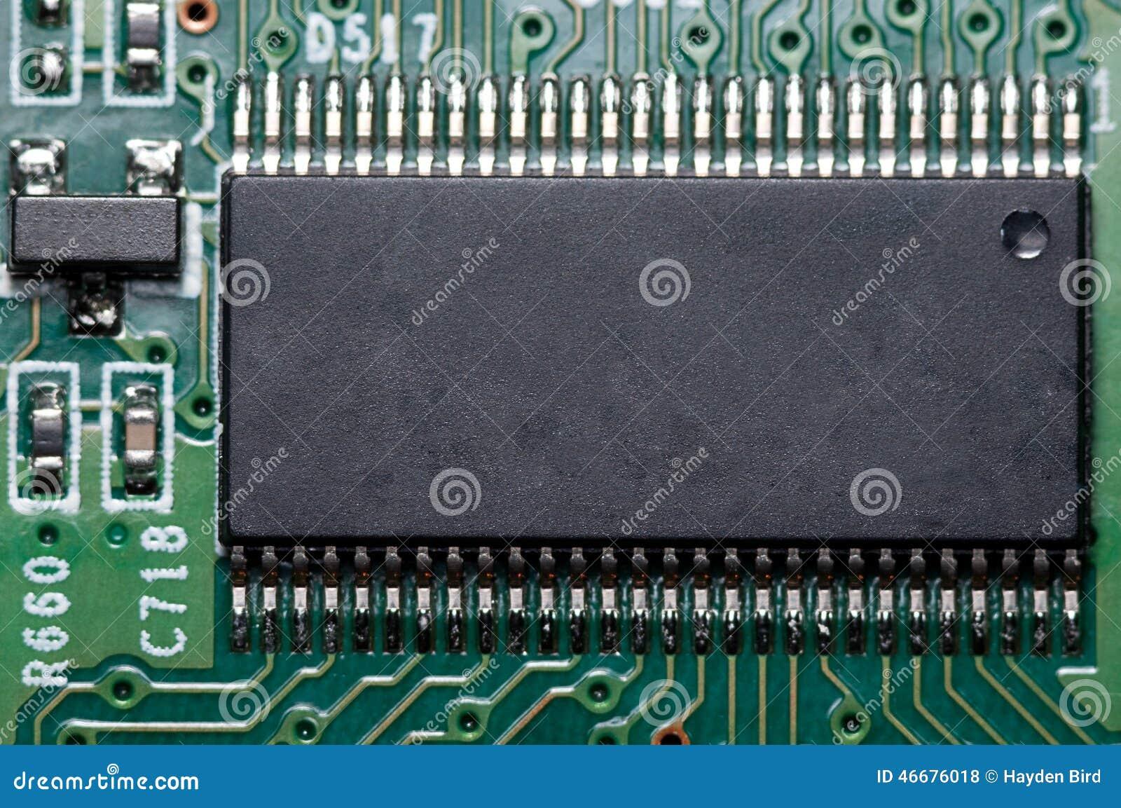 Macro del PWB electrónico de la placa de circuito en verde