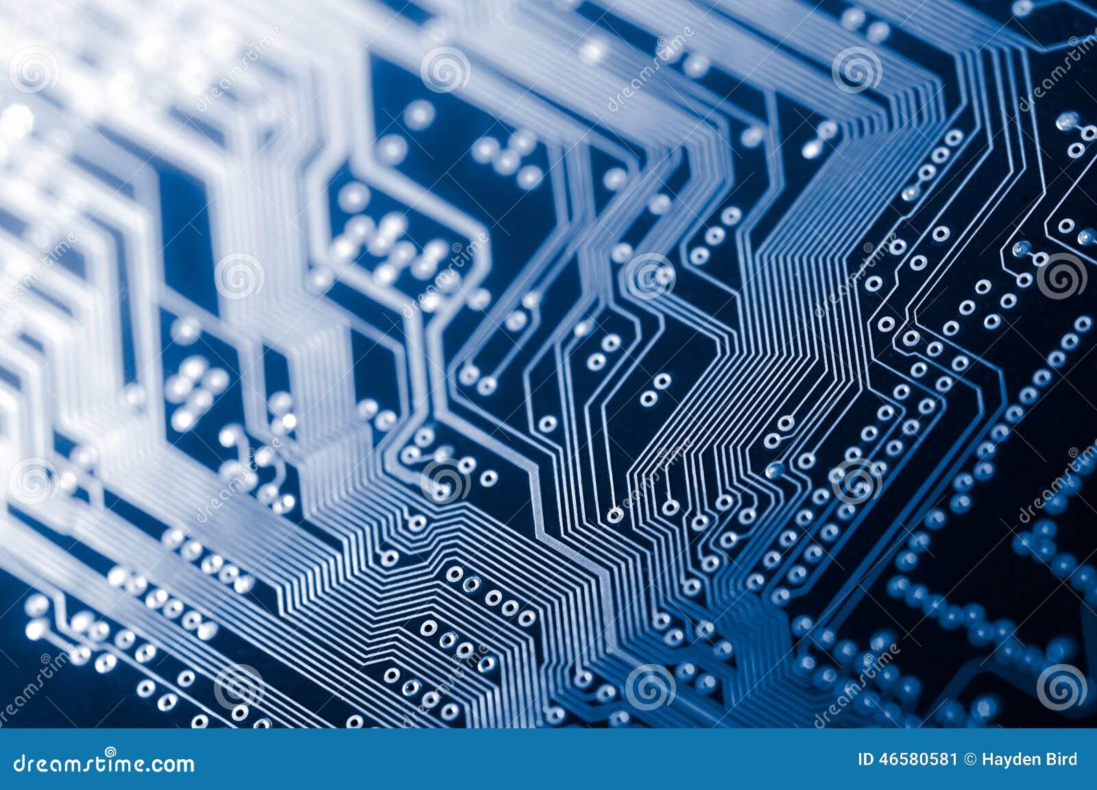Macro del PWB elettronico del circuito in blu