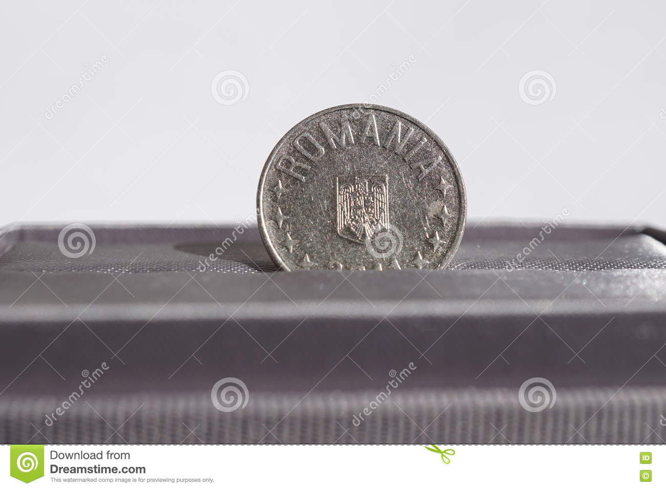 Macro Detail Of A Metal Coin Of Ten Bani Romanian Currency Ron Also