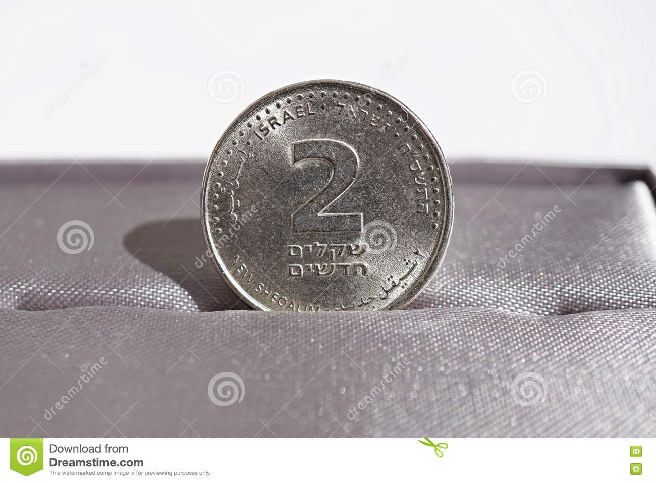 Macro Detail Of A Metal Coin Of Two Shekels Israeli Currency New