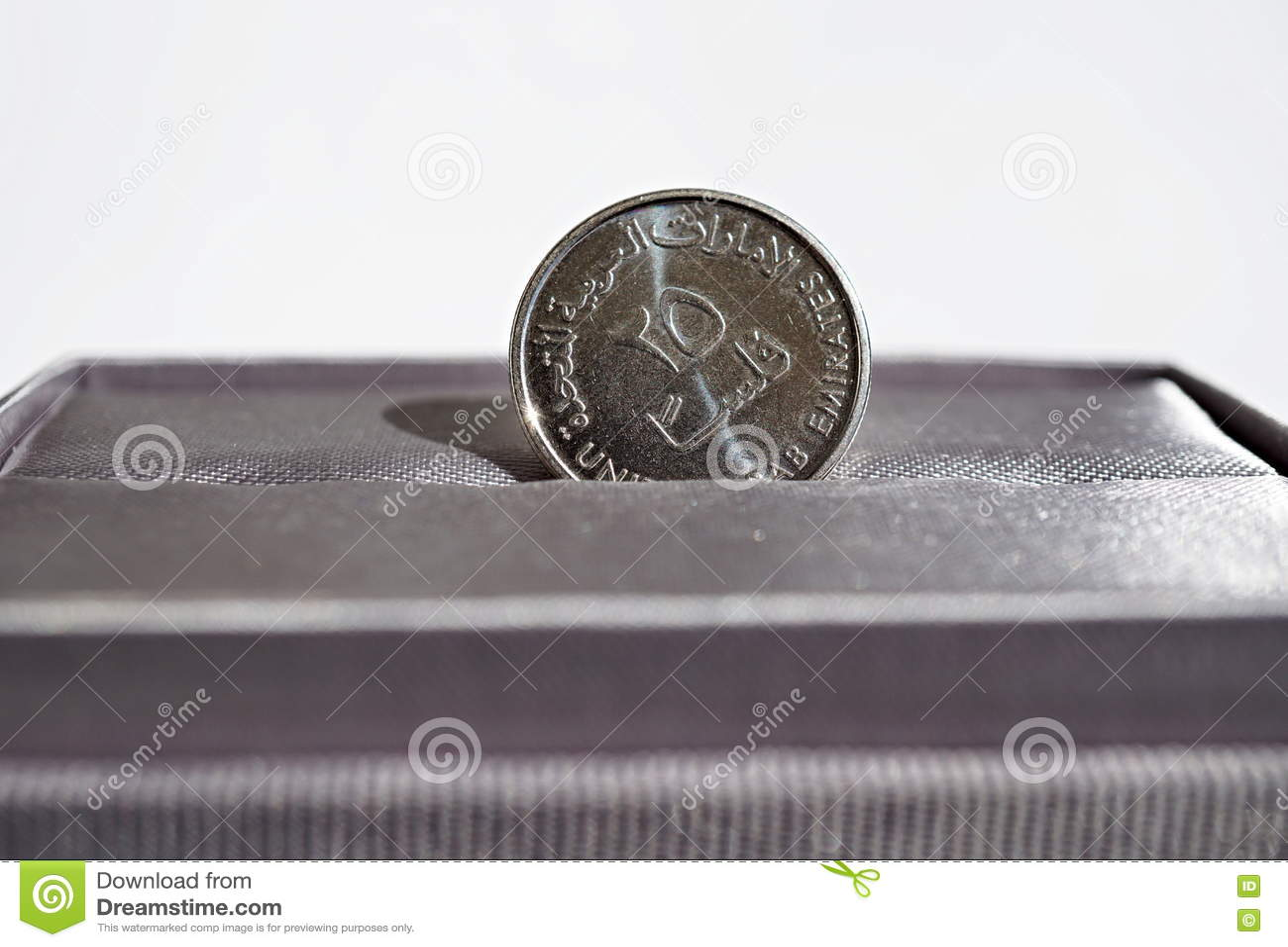 Macro Detail Of A Silver Coin Of Dirham United Arab Emirates Dirham