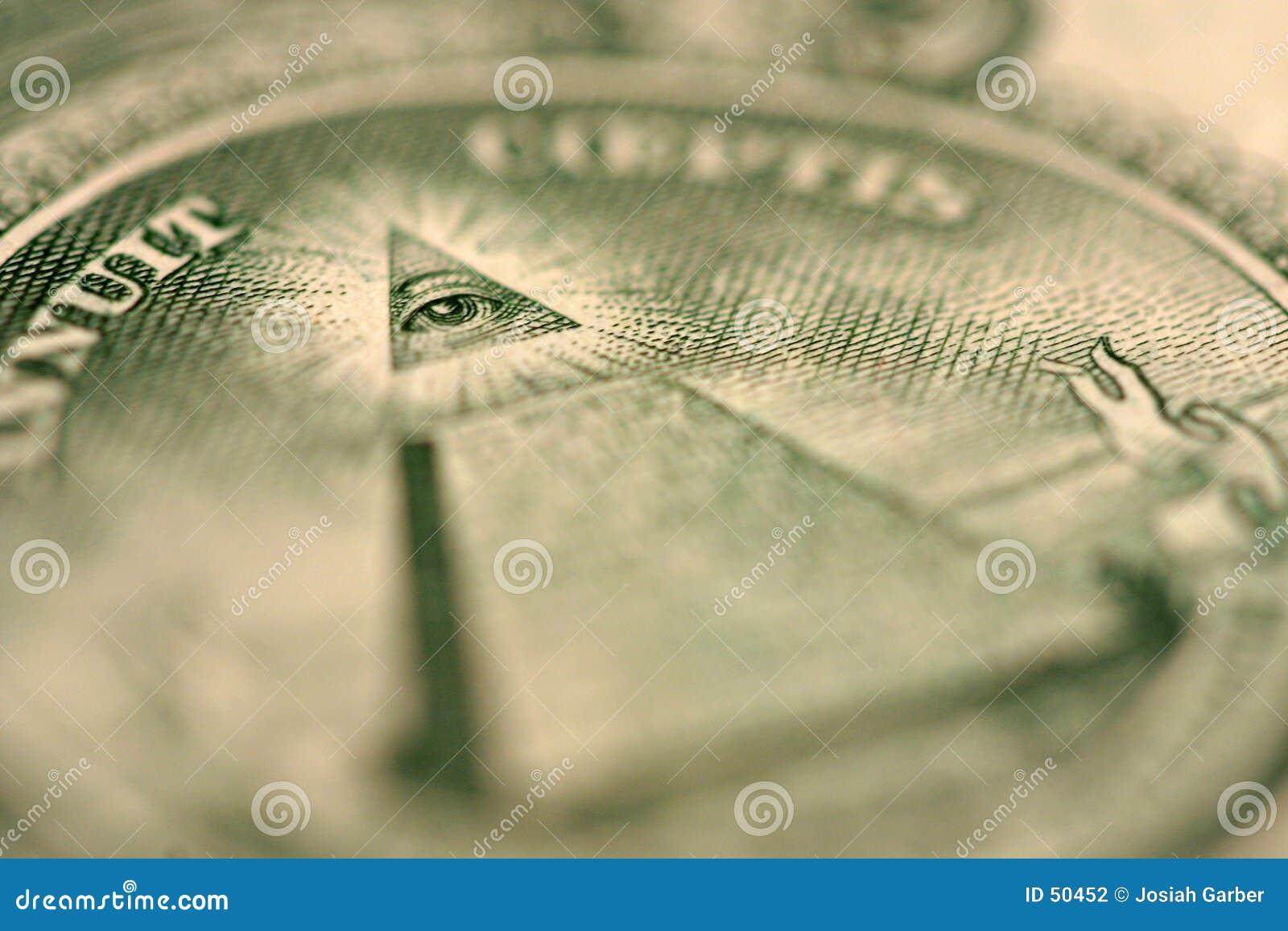 Macro do detalhe de Bill de dólar