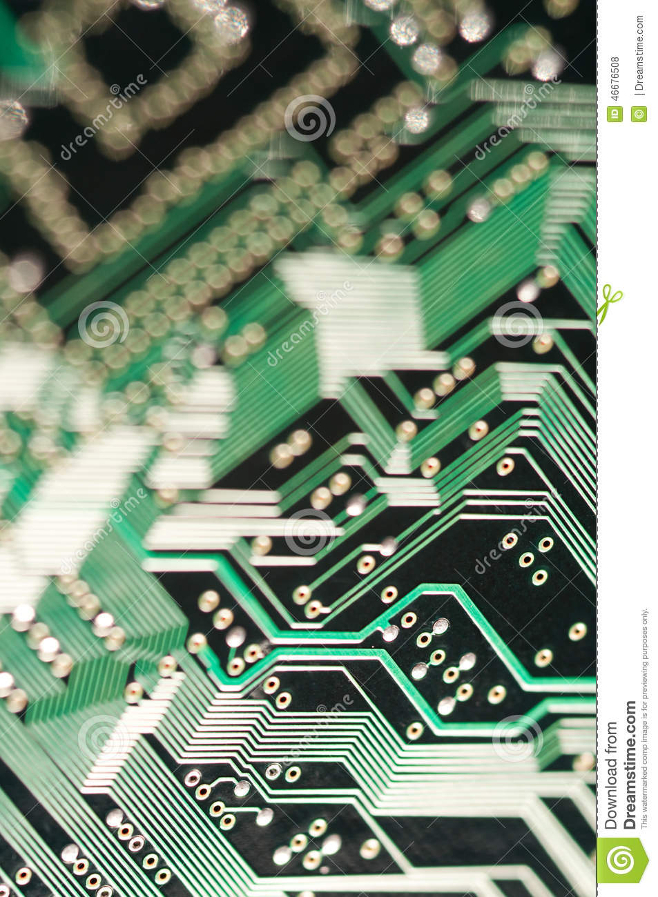 Macro of electronic circuit board pcb in green
