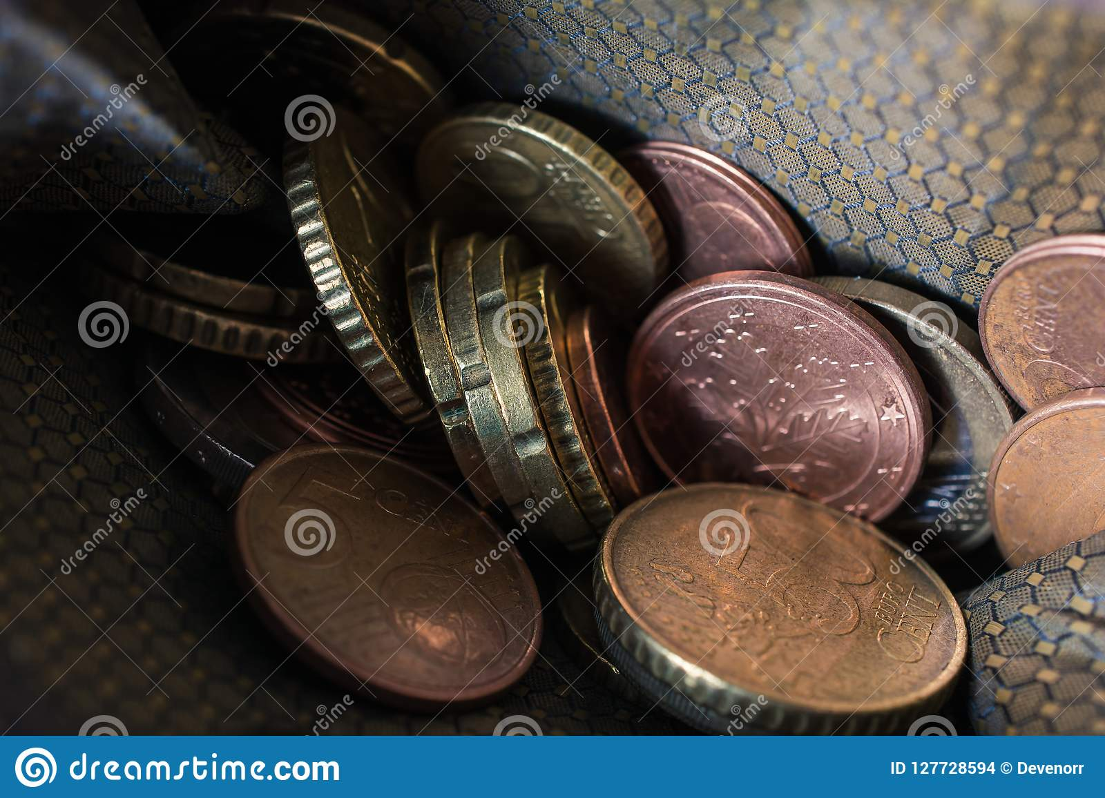 Macro Of Euro Coins In A Wallet