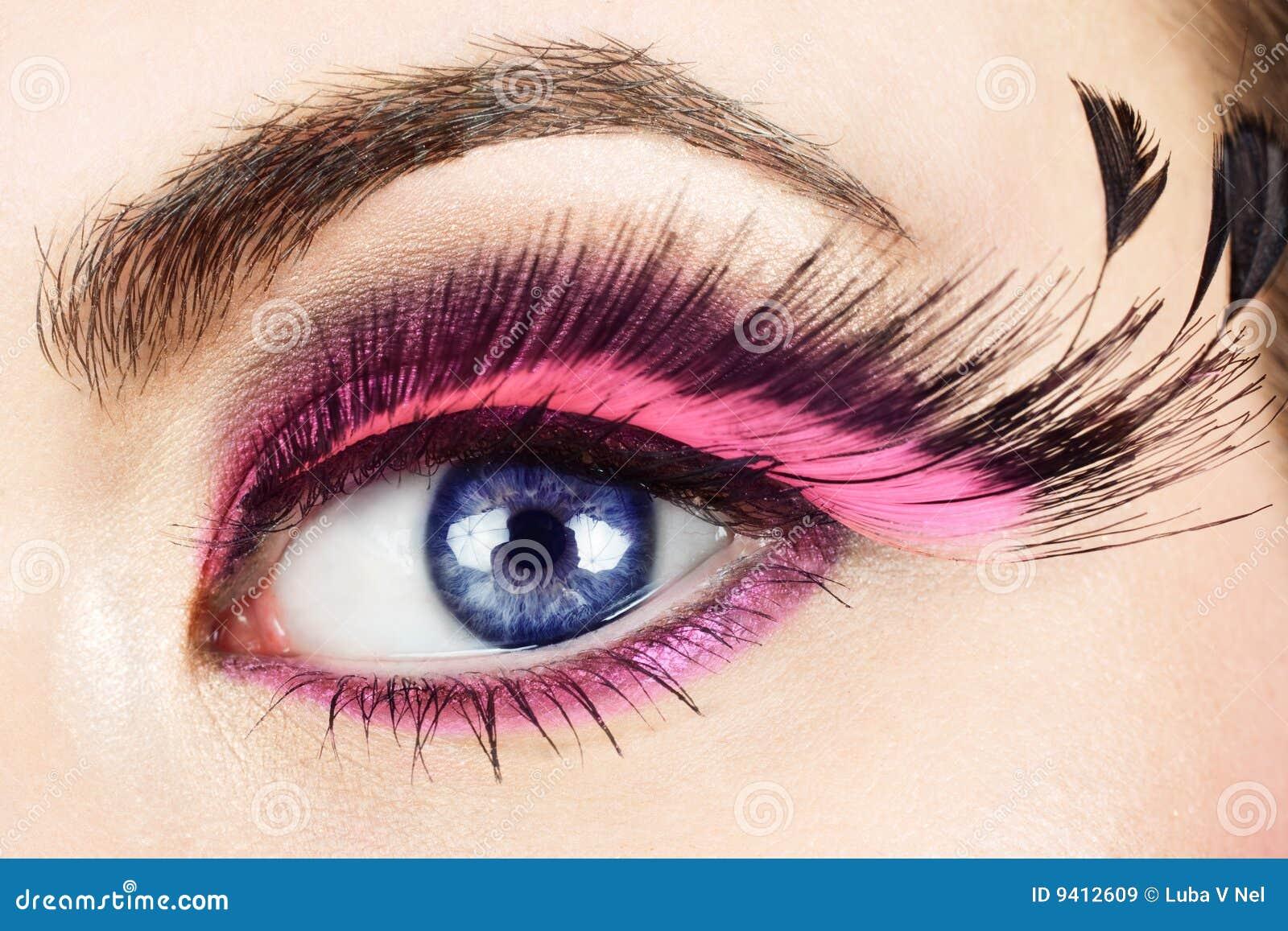 0d5b09fe56e Macro Of Eye With Fake Eyelashes. Stock Image - Image of bright ...