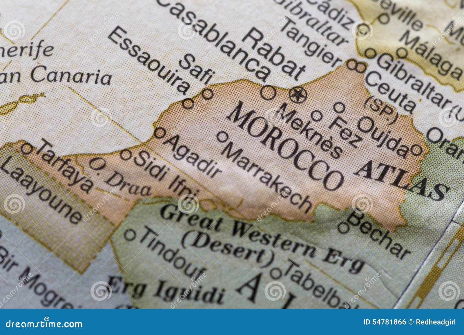 Macro globe map detail Morocco