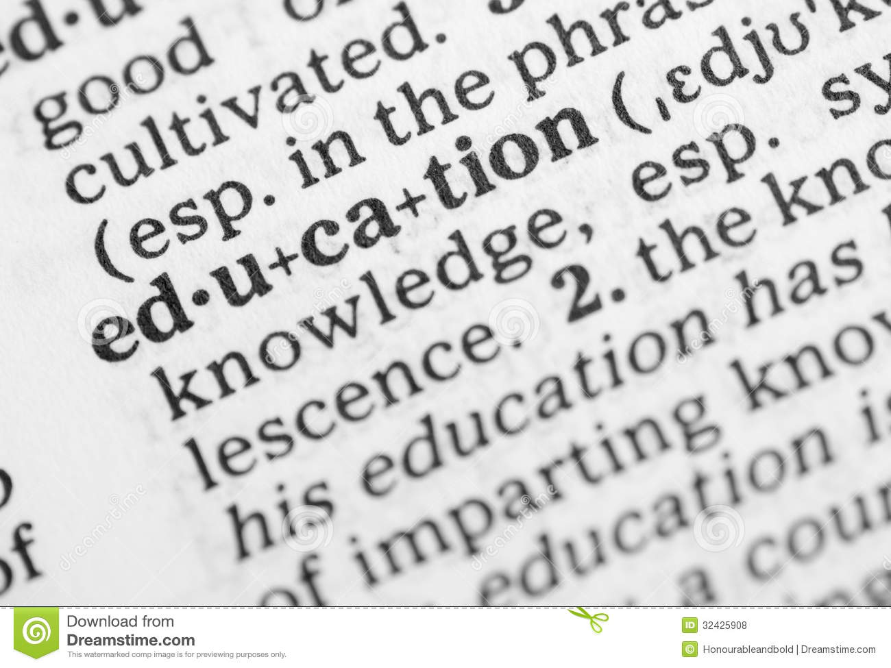 Macro Image Of Dictionary Definition Of Education Royalty