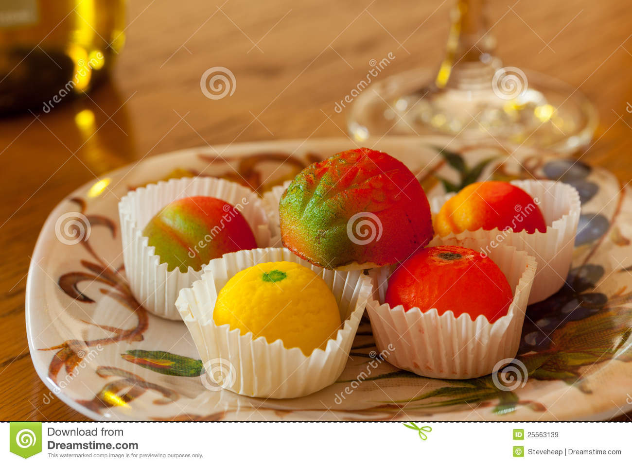 Fruit shaped candies in macro image of marzipan sweets on table with    Mazapan Fruit