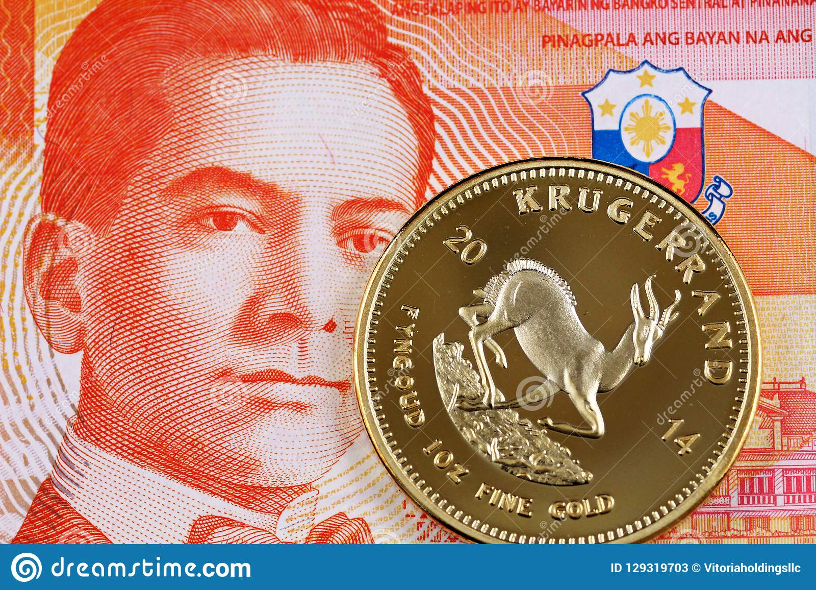 Twenty Filipino Peso Bank Note With A Krugerrand Coin