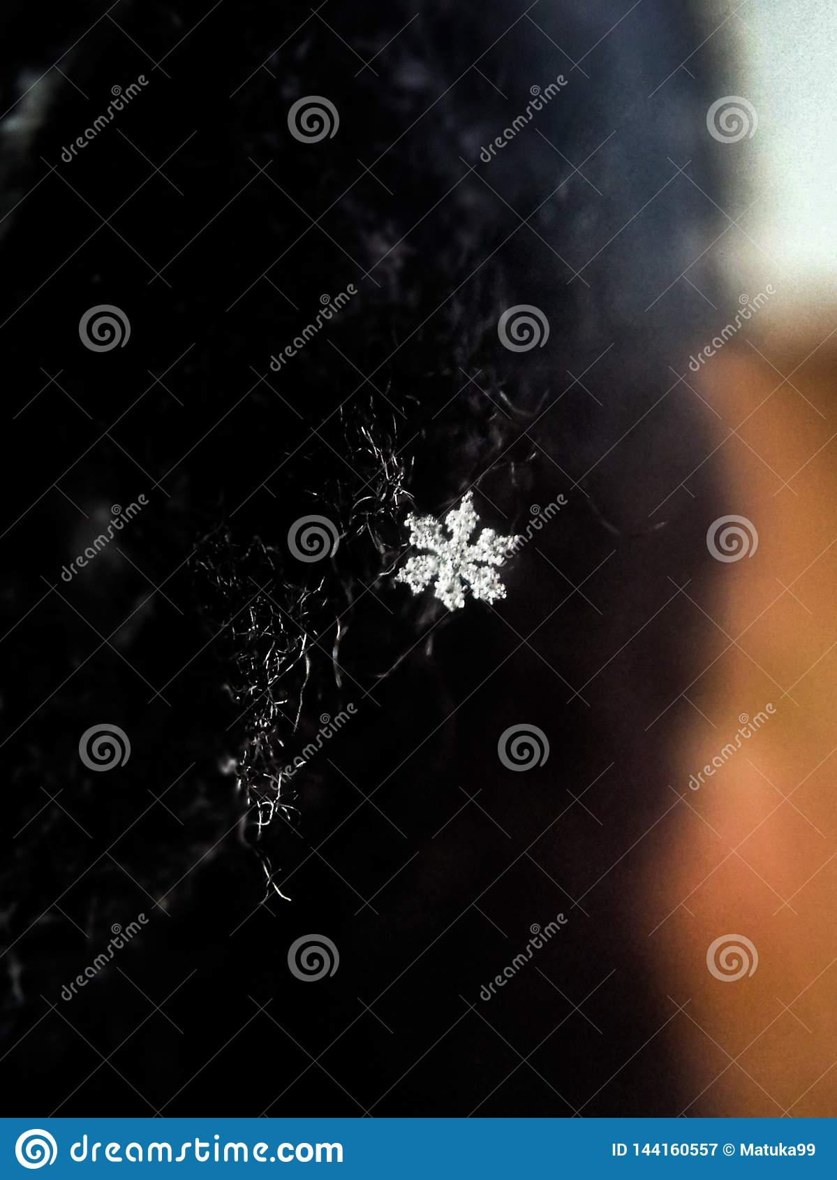Macro lens image with a snowflake from close