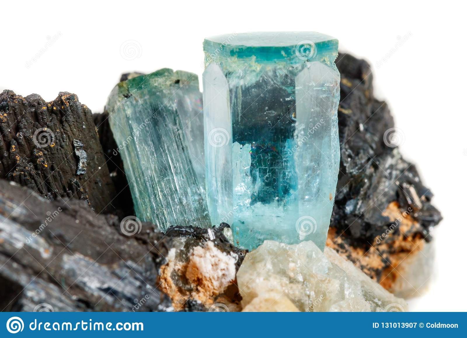 Macro mineral stone Aquamarine and black tourmaline, Schorl on a