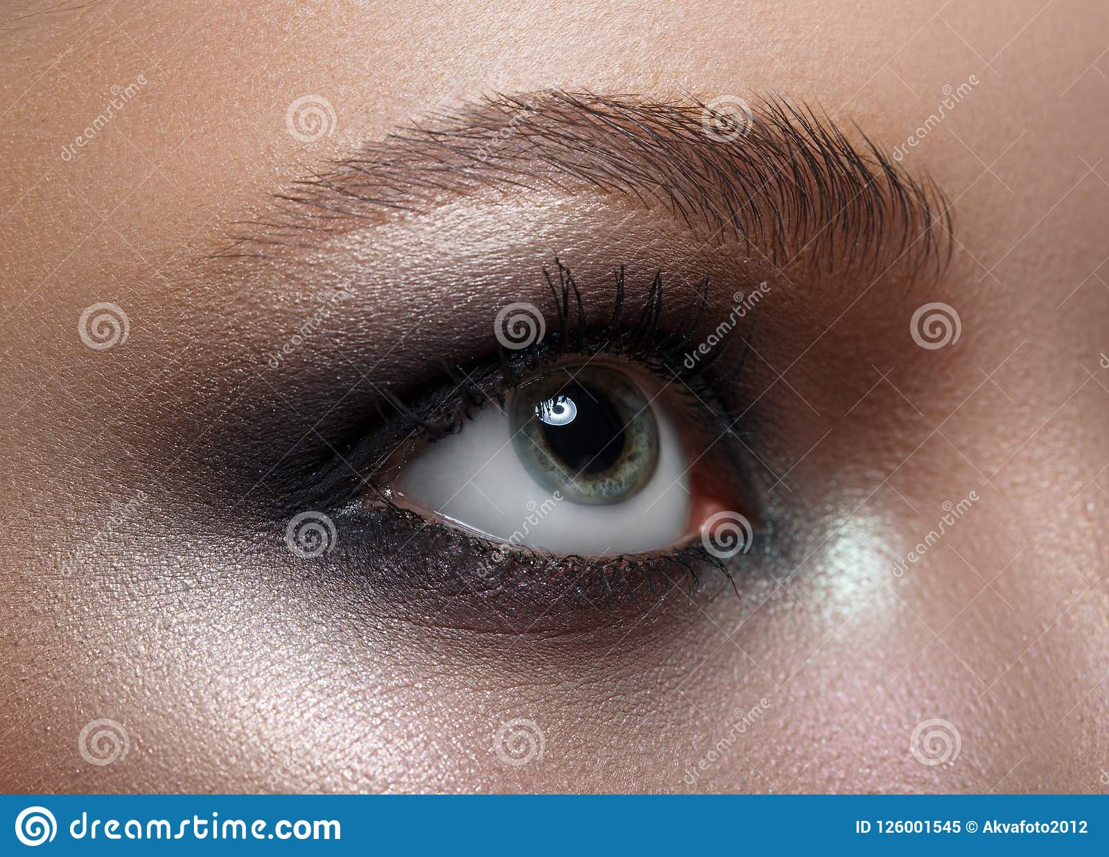 Macro Perfect Makeup And Eyebrows Beautiful Gray Eyes Stock Image