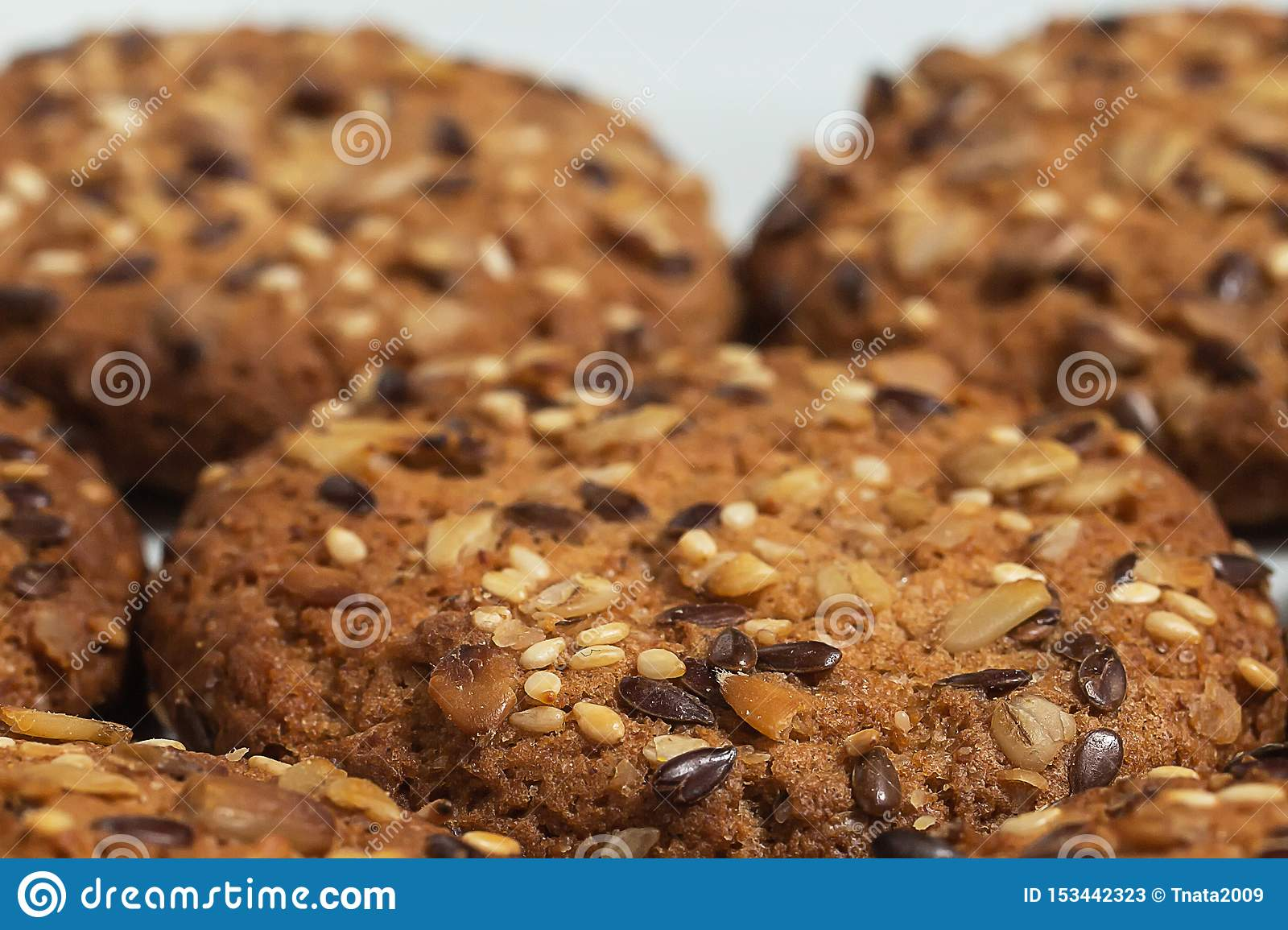 Macro Photo Of Brown Dietary Low Calorie Fitness Cereal Biscuits With Sprinkling Closeup On White Background Stock Image Image Of Circle Brown 153442323